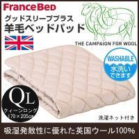 (フランスベッド) グッドスリーププラス 羊毛ベッドパッドロング クィーンロング 170×205cm fb_36012_ql (インテリア/寝具/ファブリック/ベッドパッド/新生活