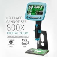 USB デジタルマイクロスコープ 800倍 拡大 LEDライト 8個 拡大鏡 メタルスタンド付き