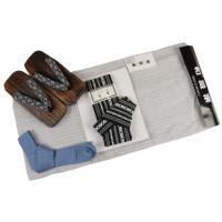 和遊楽 メンズ 綿麻しじら織り浴衣(M/L/LLサイズ)作り帯 下駄 腰紐 4点セット WO-3T