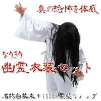 [商品説明]肝試しやホラーイベント、ハロウィンなどに使えるお化け衣装セットです。ウィッグと着物白装束...