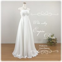 エンパイアラインのドレスなので、 マタニティの方にも人気のデザインとなっております。 サイズ選びが不...