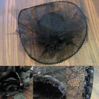 レディースブライダル ヘッドドレス ブラック黒 中世貴族風 ウェディングハット 結婚式 お姫様 帽子 ヘアアクセサリー つば広帽子 HD1825bk