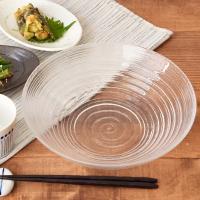 ガラス大鉢 25cm ボーダーボウル サラダボウル そうめん鉢 麺鉢 鉢 ガラス ガラス食器