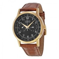シチズン Eco Drive Black Dial Brown Leather Rose Gold-...