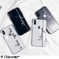 iPhoneXケース iPhone8ケース iPhone7ケース   クリアケースに白 or 黒の文...