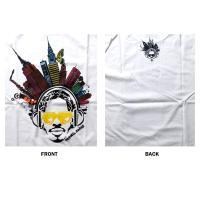 おもしろtシャツ パロディtシャツ メンズ デザインTシャツ パロディTシャツ 笑える 音楽の街 アフロヘッド 黒色 白色 M Lサイズ