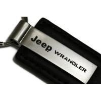 Jeep Wrangler ブラック レザー キー フォブ Authentic ロゴ キー チェーン キー リング キーホルダー L(海外取寄せ品)