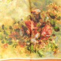 Allydrew 100% Mulberry シルク フローラル Painting スクエア スカーフ, レッド ローズ on オレ(海外取寄せ品)