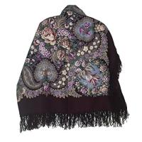 Huge ロシアン Woolen Shawl 73407 (wool fringe)(海外取寄せ品)