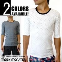 オールシーズン着用可能なドット柄Tシャツ☆ 細かなドット柄×リンガーネックデザインがオシャレコーデを...