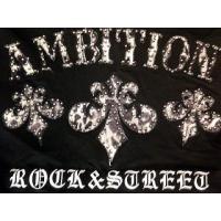 BE AMBITION  半袖Tシャツ ジップアップ 百合&ロゴスタッズ ビーアンビション