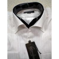 ドレスシャツ イタリアンカラー 二重襟 ラメストライプ