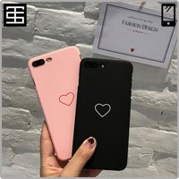 iPhone Case Heart Simple Black Pink iPhoneケース ハート ...