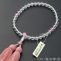 珠の素材:本水晶 8mm玉     親珠、2天珠に桜彫り本水晶を使用房の素材:正絹頭付房(ピンク色/...