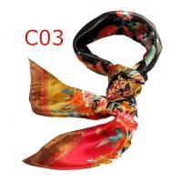 華麗で富貴なシルク調スカーフ 花柄90角正方形大判スカーフ (C1〜C10)