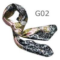 華麗で富貴なシルク調 花柄90角正方形大判スカーフ (G1〜G10)