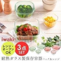 イワキ iwaki 保存容器 耐熱ガラス おしゃれ パック&レンジ 角型 3点セット PSC-PRN3G1 耐熱容器