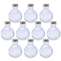 ハーバリウム 丸スキットル型 ガラス瓶 100cc 10本セット キャップ付 硝子ビン 透明瓶 変形型 ウイスキーボトル 花材 ウエディング プリザーブドフ