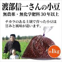 北海道産 無農薬小豆「渡部信一さんの小豆約1kg」 無農薬・無化学肥料栽培30年の美味しい小豆  渡部信一さんは化学薬品とは無縁の農業を営む生産者