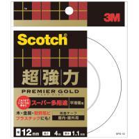 3M スコッチ 超強力両面テープ プレミアゴールド (スーパー多用途) 12mm×4m SPS−12 1巻|tanomail