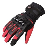 PRO-BIKER 防寒 防風 防雨 バイクグローブ バイク 冬用 手袋 赤 M