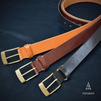 ビジカジ(ビジネスカジュアル)スタイルで目を惹く厚みのある牛本革の一枚革ノンステッチベルト  革作り...