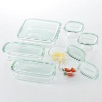 耐熱ガラスは酸や塩分に強く、食品の保存に最適です。角型でコンパクトに積み重ねが出来るので冷蔵庫の収納...
