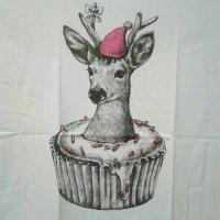 Tシャツ レディース 半袖 フリーサイズ シカ&ケーキ柄デザインTシャツ 白色 アニマル柄 動物柄 鹿 しか tシャツ 【メール便対応可能】