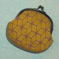 がま口財布 レディース/和柄/帆布製 全25柄 メール便OK 麻の葉模様 からし