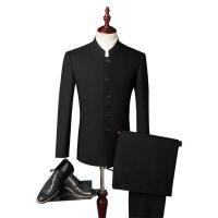 スーツ 結婚式スーツ メンズ スーツセットアップ 2点セット 2ピース チャイナ風 立ち襟 シングル...