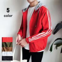 スタジャン ジャケット はおり 秋冬 ブルゾン メンズ ジャンパー 英字デザイン フード付き 袖ライン アウター 秋 かっこいい