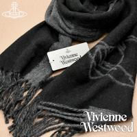 【送料無料】Vivienne Westwood 2019年新作 ヴィヴィアンウエストウッド マフラー レディース ブラック×グレー BLACK VV19-N201-BLACK