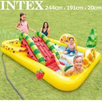 INTEX インテックス ファン&フルーティー プール 滑り台付 244cm×191cm×91cm 水遊び スクエアプール 大型プール ビニールプール アウトドア用品 MAY3 JUN1