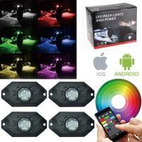 LEDロックライト RGB LED アンダーライト アンダーネオン  スマホ操作 Bluetooth IP68防水 Rockライト フルーカラー 簡単取付 4個 1年保証