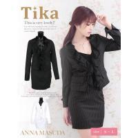 キャバ スーツ キャバスーツ ミニ 大きいサイズ (S〜L) Tika ティカ ストライプ柄 セットアップスーツ ホワイト ブラック キャバ スーツ
