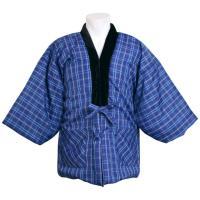 紳士 大人用の半纏です ルームウェアに最適  定番の格子柄中綿半纏  前面ポケットが左右にあり  寒...