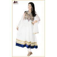 サフェードのパンジャビドレス 3点セット 白×濃青 / エスニック 衣料 服 レビューでタイカレープレゼント