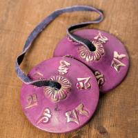 カラーディンシャ〔約5.8cm〕 - 紫 / ティンシャ、チベタンベル、マンジーラ、ネパール 楽器、...