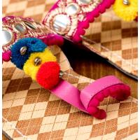 カッチテイストのカラフル刺繍サンダル / エスニック 衣料 服 ファッション アジア インド