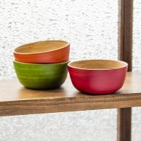 ベトナムの竹食器 - お椀 橙(直径12cm程度) / ベトナム、竹皿、bamboo、バンブー、ボウ...