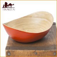 ベトナムの竹食器 - 楕円皿 橙(長さ15cm程度) / ベトナム、竹皿、bamboo、バンブー、ボ...