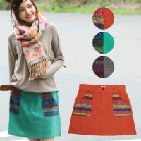 エスニックの風を感じる、やさしいコットン100%のミニスカート。  メキシコのウィチョール族の伝統的...
