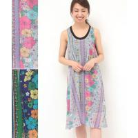 ◆商品について  乙女心をくすぐるお花&ナバホ柄ワンピース!!  柔らかな色彩のグレーと、ちょっぴり...