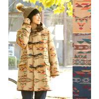 ◆商品について   この冬の主役になる、チマヨ柄のジャガード生地がインパクト大のダッフルコート フロ...