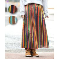 ◆商品について   裏地付きで安心!マルチカラーのプリーツロングスカート!! 薄手でハリ感のある素材...