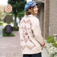 ◆商品について◆  薄手のアウターは刺繍をふんだんに刺したヴィンテージ感のあるカバーオール風ブルゾン...