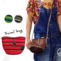 サイザル麻を丁寧に編みこんだ夏らしいポシェット☆ 細かい手編みストライプと革の素材感を楽しんで♪! ...