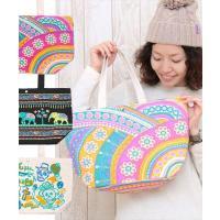 ◆商品について  綿のナチュラルな質感と、カラフルで楽しい柄が魅力の、トートバッグ☆ A4サイズも入...