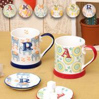 ◆商品について  かわいいスタンプのイニシャルと模様が入ったマグカップです。 内側には小さなワンポイ...