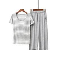 2点セット パジャマ 半袖パジャマ ロングパンツ 上下セット レディース パットあり ボーダー柄 部屋着 寝巻き セットアップ 薄手 夏物 新作
